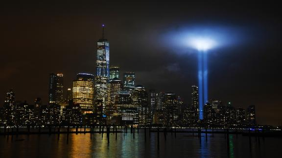 """New York City: The """"Tribute in Light"""" is an art installation lit annually in New York on September 11. Searchlights are used to create two vertical columns of light representing the Twin Towers."""