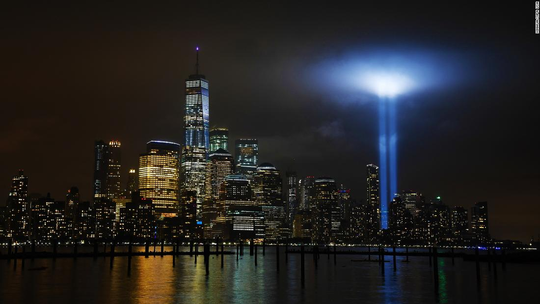 "<strong>New York City: </strong>The ""Tribute in Light"" is an art installation lit annually in New York on September 11. Searchlights are used to create two vertical columns of light representing the Twin Towers."