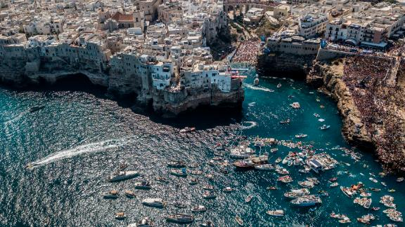 Polignano a Mare, Italy: The town of Polignano a Mare, in southern Italy on the Adriatic coast, played host in September to the Red Bull Cliff Diving World Series.