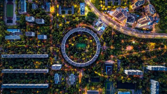 Moscow: This aerial views shows the unusually shaped building at 13 Nezhinskaya Street, a circular house in Moscow