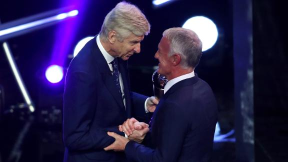 Former Arsenal Manager, Arsene Wenger presented Didier Deschamps the award for manager of the year. Deschamps led France to a World Cup win in July.