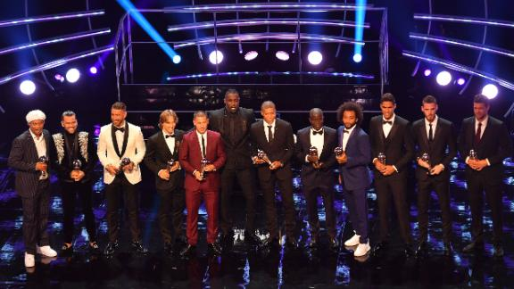 The FIFPro World XI awards were presented by former Brazil and Barcelona player Ronaldinho (far left) and Brazil and PSG defender Dani Alves (second to left).