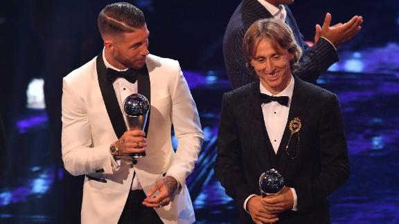 Modric was also part of the FIFPro World XI side, marking a global All-Star team for the year. His Real Madrid teammates Sergio Ramos (left) along with Cristiano Ronaldo and Marcelo were also named on the side.