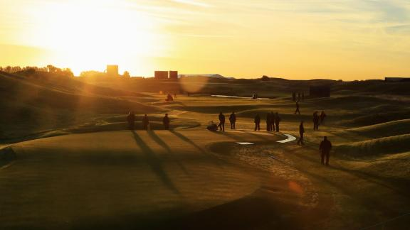 Greenkeepers make the final touches to Le Golf National in Paris ahead of the 2018 Ryder Cup.