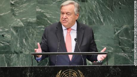 NEW YORK, NY - SEPTEMBER 25:  Secretary General of the United Nations Antonio Guterres addresses the 73rd UN General Assembly meeting on September 25, 2018 in New York City. World leaders gathered for the annual meeting at the UN headquarters in Manhattan.  (Photo by John Moore/Getty Images)