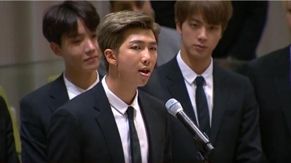 K-pop band BTS address the UN General Assembly in New York.