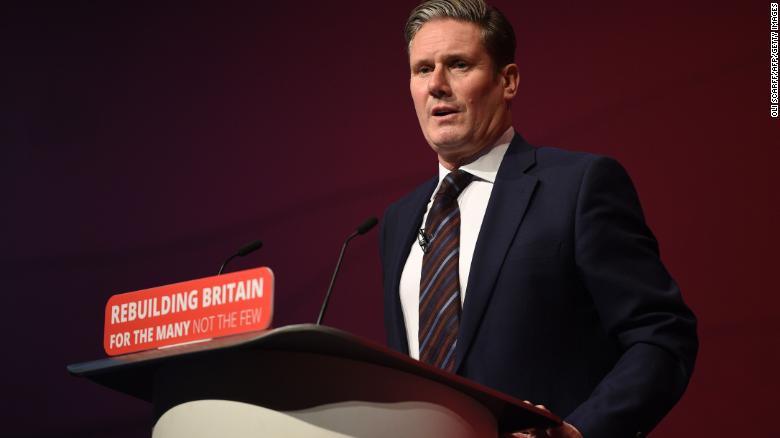 Labour's Brexit spokesman Keir Starmer addresses Labour Party delegates.