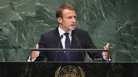 President of France Emmanuel Macron addresses the United Nations General Assembly on September 25, 2018 in New York City.