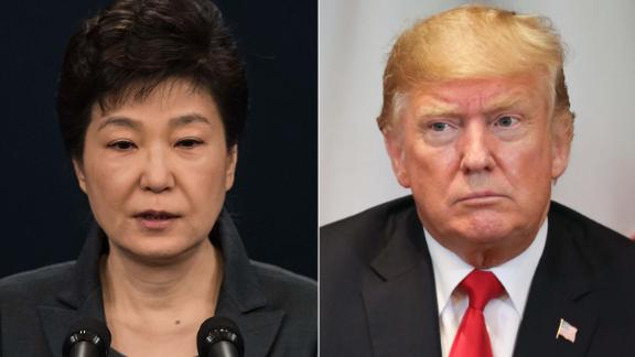 LEFT: South Korean President Park Geun-Hye speaks during an address to the nation, at the presidential Blue House on November 4, 2016 in Seoul, South Korea.  RIGHT: US President Donald Trump during a bilateral meeting with French President Emmanuel Macron (off frame) in New York on September 24, 2018, a day before the start of the General Debate of the 73rd session of the General Assembly.