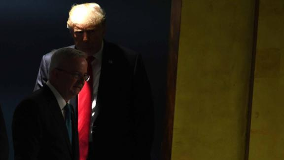 US President Donald Trump arrives to address the 73rd session of the General Assembly at the United Nations in New York September 25, 2018. (Photo by TIMOTHY A. CLARY / AFP)        (Photo credit should read TIMOTHY A. CLARY/AFP/Getty Images)