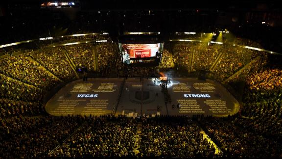 Names of the 58 victims of the October 1, 2017, mass shooting in Las Vegas are projected on the ice at T-Mobile Arena on March 31, 2018 in Las Vegas.