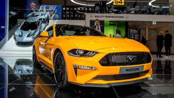 GENEVA, SWITZERLAND - MARCH 07: Ford Mustang is displayed at the 88th Geneva International Motor Show on March 7, 2018 in Geneva, Switzerland. Global automakers are converging on the show as many seek to roll out viable, mass-production alternatives to the traditional combustion engine, especially in the form of electric cars. The Geneva auto show is also the premiere venue for luxury sports cars and imaginative prototypes. (Photo by Robert Hradil/Getty Images)