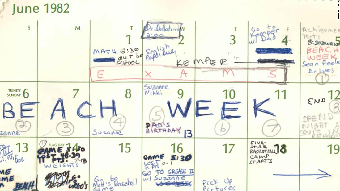 1982 calendar entries from brett kavanaugh cnnpolitics