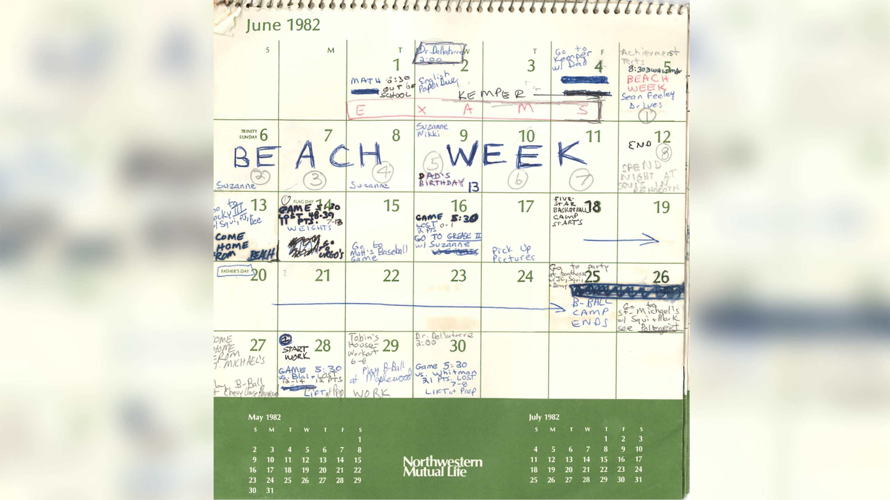 Kavanaugh Shares Pages From His 1982 Calendar