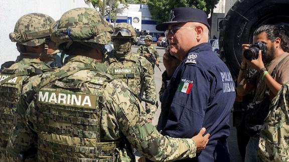 """Mexico's marines are taking part in the """"intervention operations"""" of Acapulco's municipal police."""