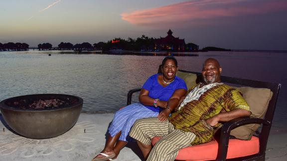 Herman Gordon and his wife at Sandals Montego Bay