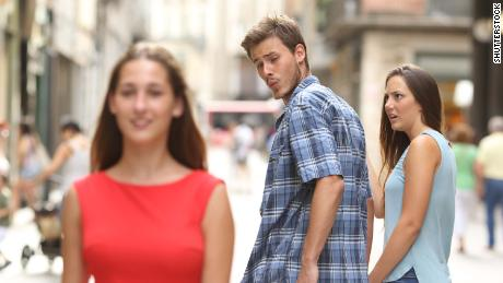 "This stock photo of a ""distracted boyfriend,"" which has spurred numerous internet memes, was deemed sexist by the Swedish advertising watchdog."