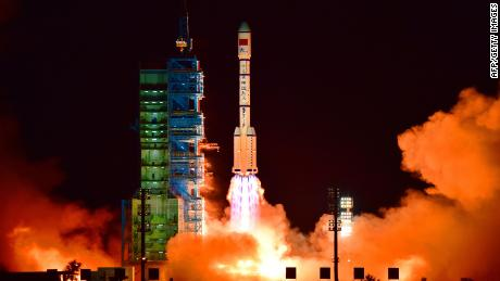 China's Tiangong 2 space lab is launched on a Long March-2F rocket from the Jiuquan Satellite Launch Center in the Gobi Desert, in China's Gansu province, on September 15, 2016. China launched its second space lab on September 15, as the Communist country works towards setting up its own space station.  CHINA OUT     AFP PHOTO / AFP / -        (Photo credit should read -/AFP/Getty Images)