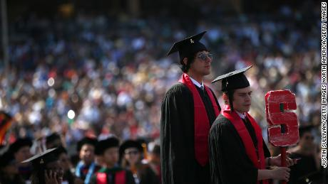 Graduating Stanford University students prepare for the annual commencement ceremony. Stanford is the highest ranked US institution on the Times Higher Education World University Rankings, 2019.