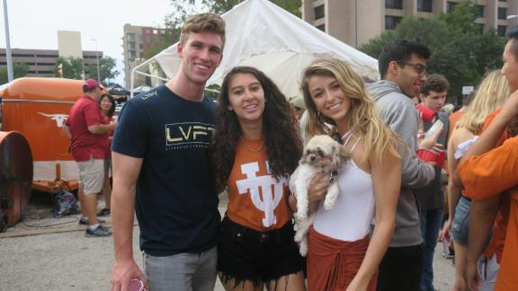 University of Texas juniors Gunner Morgan (left), Nicole Eggert (middle) and Nicole Aragon (left) attend every home game tailgate, but skip the Longhorn games.