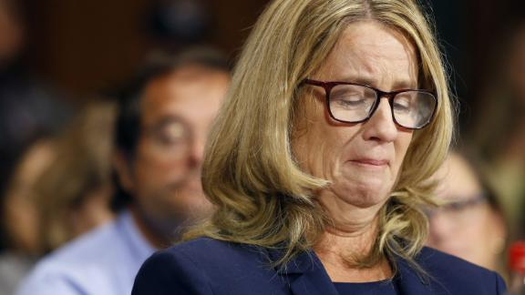 Christine Blasey Ford speaks before the Senate Judiciary Committee hearing on the nomination of Brett Kavanaugh to be an associate justice of the Supreme Court of the United States, on Capitol Hill in Washington, DC, on September 27, 2018. (Photo by MICHAEL REYNOLDS / POOL / AFP)        (Photo credit should read MICHAEL REYNOLDS/AFP/Getty Images)