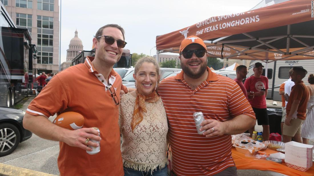 Former University of Texas fullback Todd Bondy (left) did not attend a tailgate until his college football career ended. As an alumnus, he passes through several tailgate parties before home games.