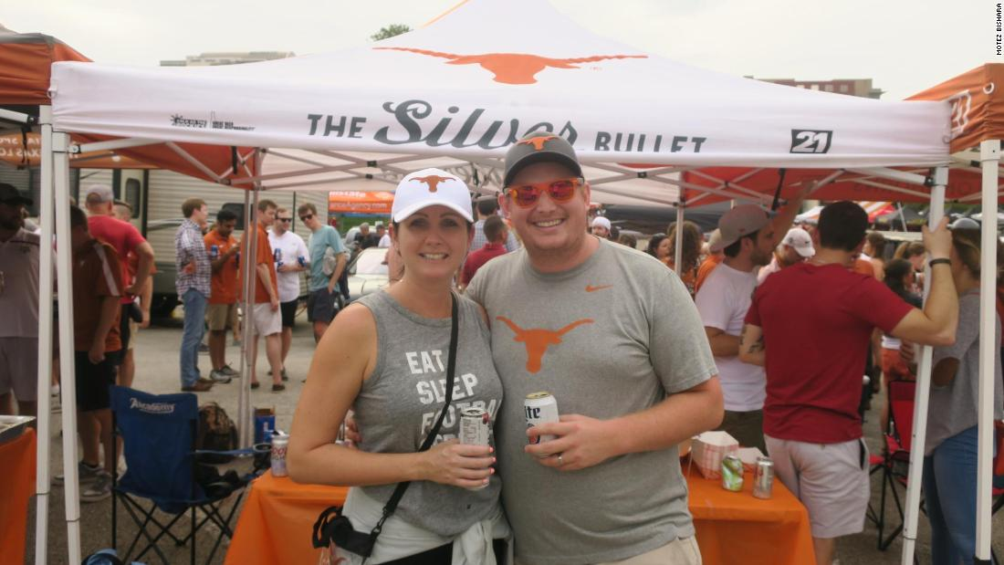 "Englishman Daniel Shepherd and his wife, who recently moved to Austin, Texas, have embraced tailgating culture. ""We thought it was a good way to meet new people,"" he said."