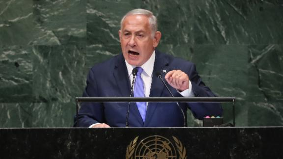 NEW YORK, NY - SEPTEMBER 27:  Prime Minister of Israel Benjamin Netanyahu addresses the United Nations General Assembly on September 27, 2018 in New York City. (Photo by John Moore/Getty Images)