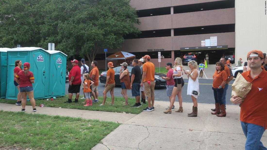 For many, part of tailgating is enduring long lines for porta-potties.