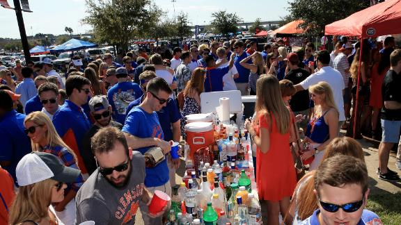 Tailgaters arrive before the Florida Gators vs. Georgia Bulldogs game at EverBank Field on October 31, 2015 in Jacksonville, Florida.