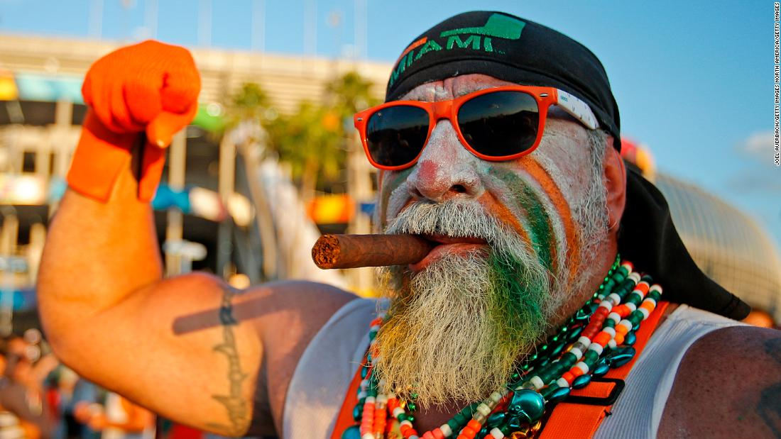 Roger Avila, a Miami Hurricanes fan, arrives in costume prior to the game against the Florida State Seminoles on November 15, 2014 at Sun Life Stadium in Miami Gardens, Florida.