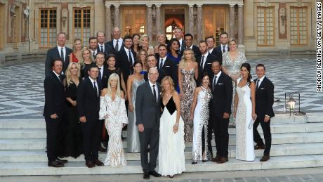 The USA Ryder Cup team and their partners ahead of a gala dinner at Versailles.