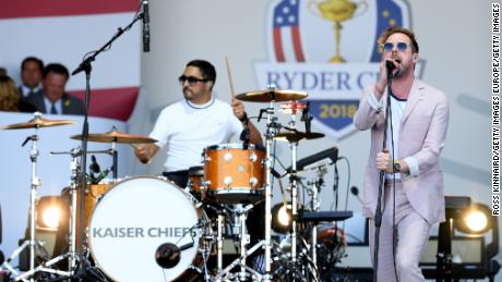 The Kaiser Chiefs performed at the Ryder Cup opening ceremony.