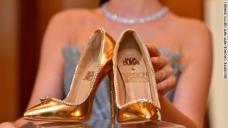 faa377e0c39 A pair of shoes worth 17 million US dollars are seen on display at Burj Al