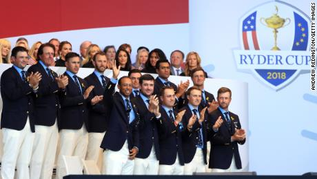 Tiger Woods is introduced alongside the USA Ryder Cup team in Paris.