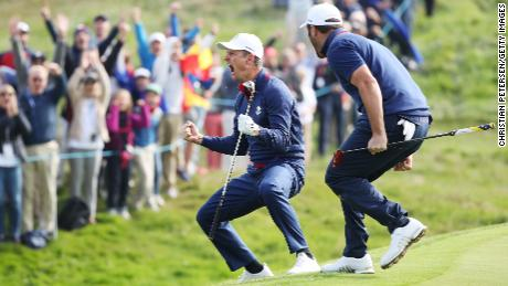 Cheers for Justin Rose and Jon Rahm on day one of the Ryder Cup.
