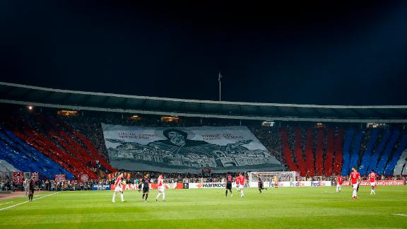 The Rajko Mitic Stadium in Serbia can be one of the most intimidating places to play football. Fans create huge banners in support of the team and frequently use pyrotechnics to intimidate the opposition.