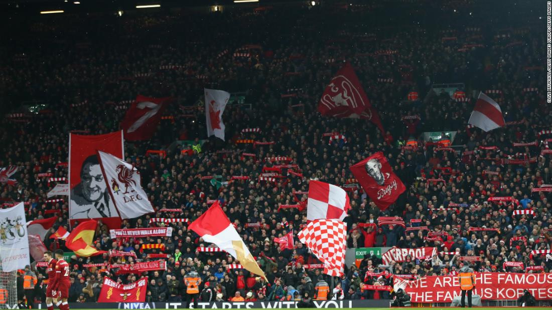"There is something special about Anfield on a European night and the stadium's Spion Kop seems to drag the ball into the goal when Liverpool are attacking that end. Fans also sing the stirring ""You'll Never Walk Alone"" before every match to create a spine-tingling spectacle."