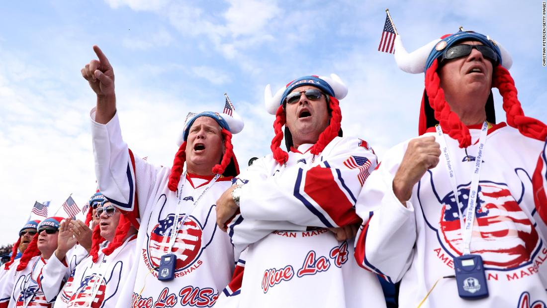 Fans of Team USA show their support during the Friday morning four-ball matches.