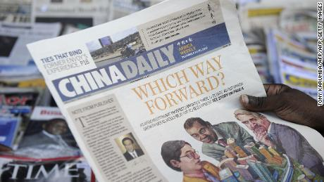 Copies of China Daily's Africa edition. The state-run newspaper has invested heavily in targeting the continent.