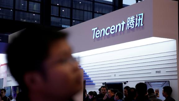 A sign of Tencent is seen during the fourth World Internet Conference in Wuzhen, Zhejiang province, China December 3, 2017.