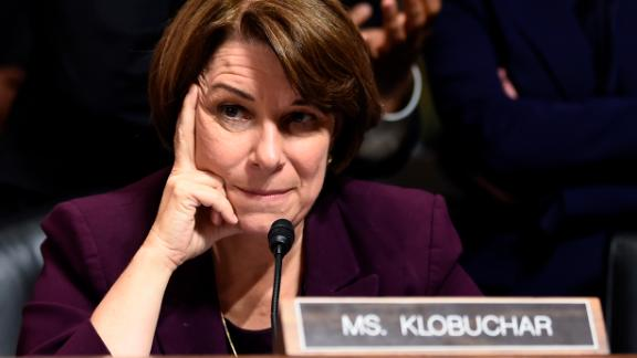 Senate Judiciary Committee member Amy Klobuchar reacts during a hearing on Capitol Hill in Washington, DC on September 28, 2018, on the nomination of Brett M. Kavanaugh to be an associate justice of the Supreme Court of the United States.