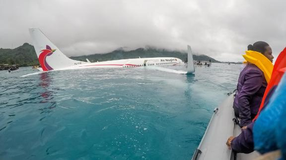 Rescuers were soon on the scene after the Boeing 737 hit the water.