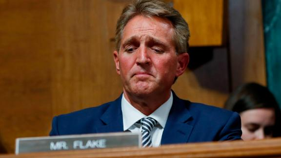Sen. Jeff Flake after speaking during the Senate Judiciary Committee hearing about an investigation, Friday, Sept. 28, 2018 on Capitol Hill in Washington, DC.