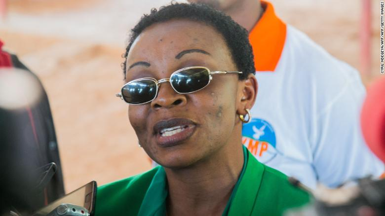 FDU president Victoire Ingabire speaks to the press after being released from prison in September 2018.
