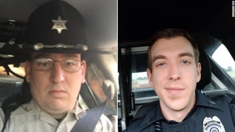 From left: Patrolman James White, 35, and Cpl. Zach Moak, 31