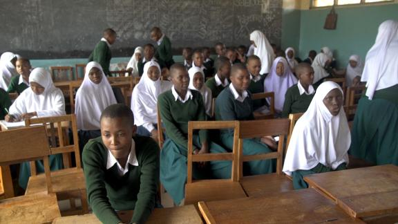 Girls behind their desks in a classroom at Ghona Secondary School in Moshi, near Kilimanjaro.