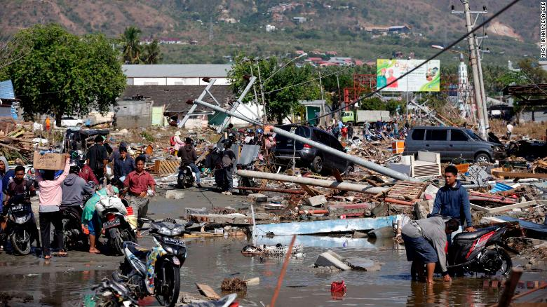 The tsunami triggered by the earthquake devastated areas of Palu, Central Sulawesi, Indonesia.