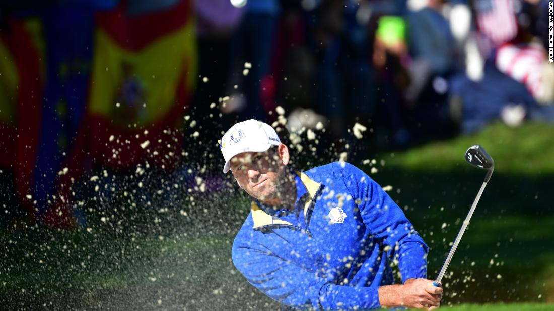 Sergio Garcia of Europe plays out of a bunker during singles matches on Sunday.