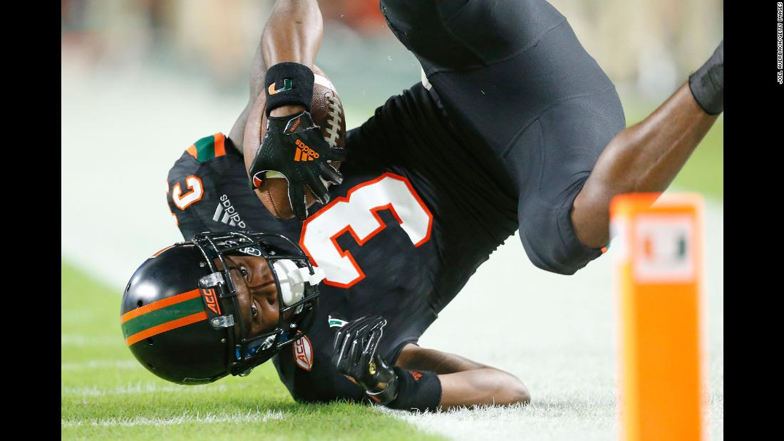 Mike Harley of the Miami Hurricanes falls out of bounds short of the end zone after catching the football in a game against the North Carolina Tar Heels on Thursday, September 27, in Miami. Miami defeated North Carolina 47-10.